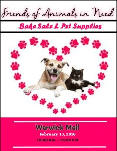 Friends of Animals in Need Bake Sale @ Warwick Mall | Warwick | Rhode Island | United States